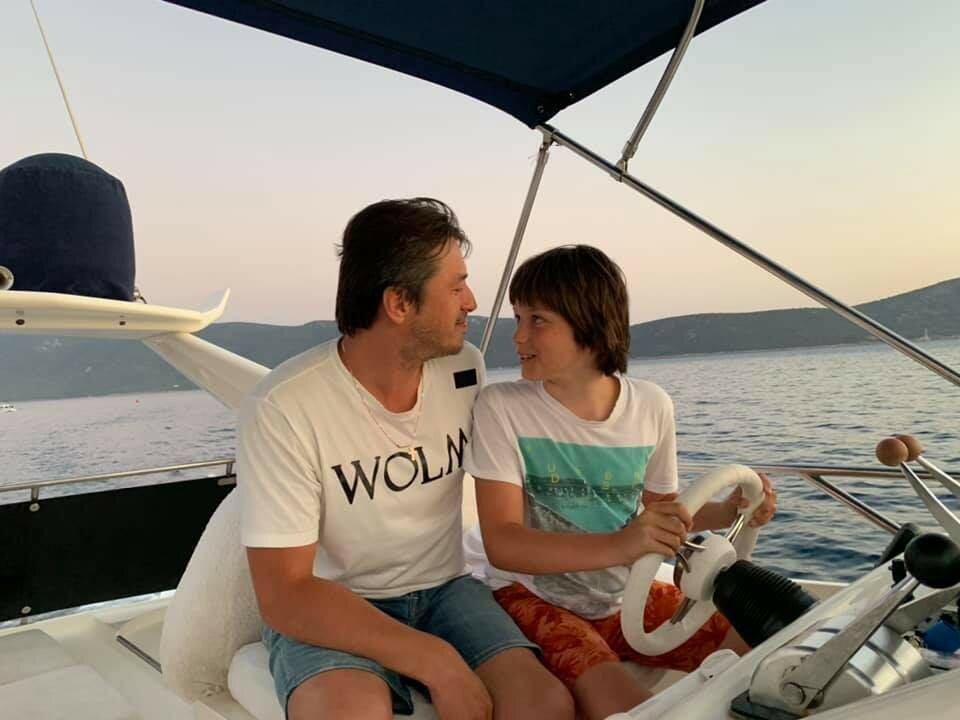 Сергій Притула на відпочинку з сином
