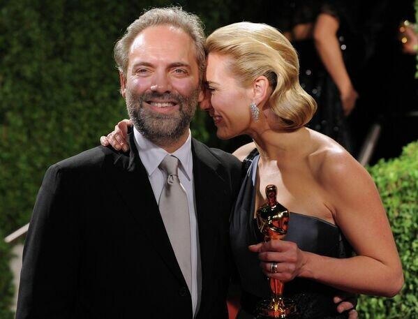 Актриса Кейт Уинслет с мужем Сэмом Мендесом на вечеринке Vanity Fair Oscar