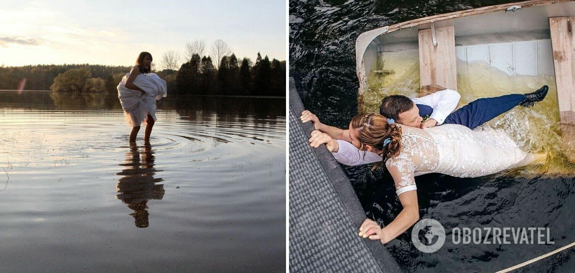 Молодожены купаются в водоеме