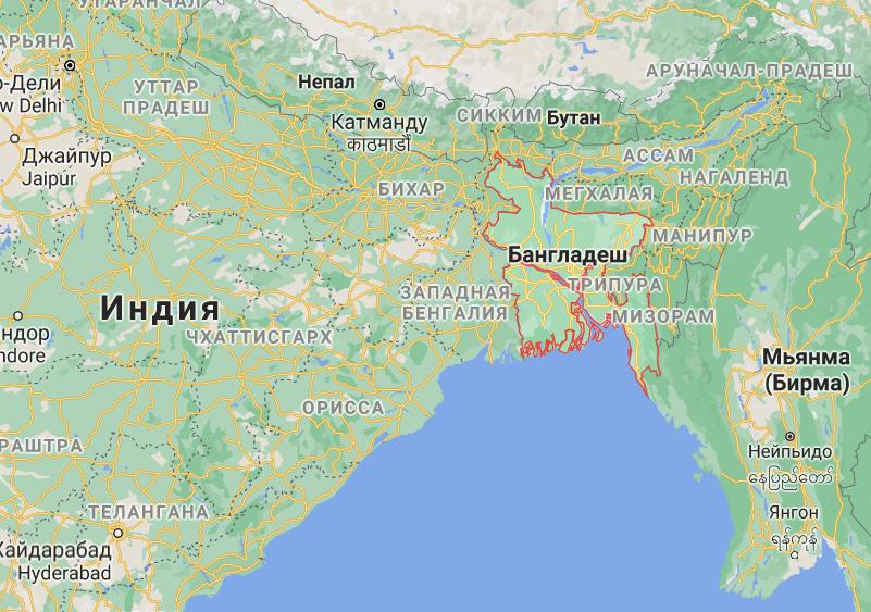 Бангладеш на карте мира.