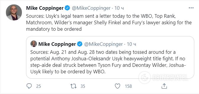 Майк Коппингер сообщил о деталях боя Усик – Джошуа.