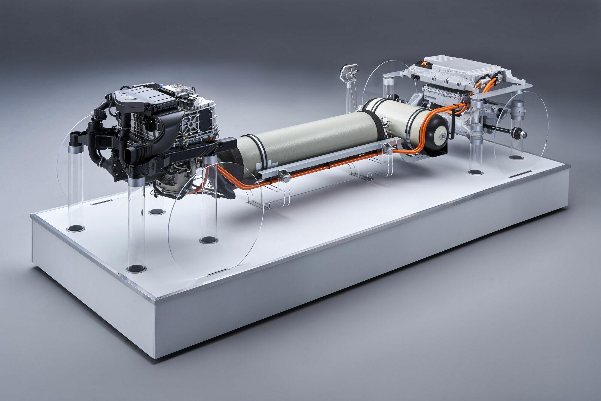 Схема розташування вузлів і агрегатів водневого BMW i Hydrogen NEXT