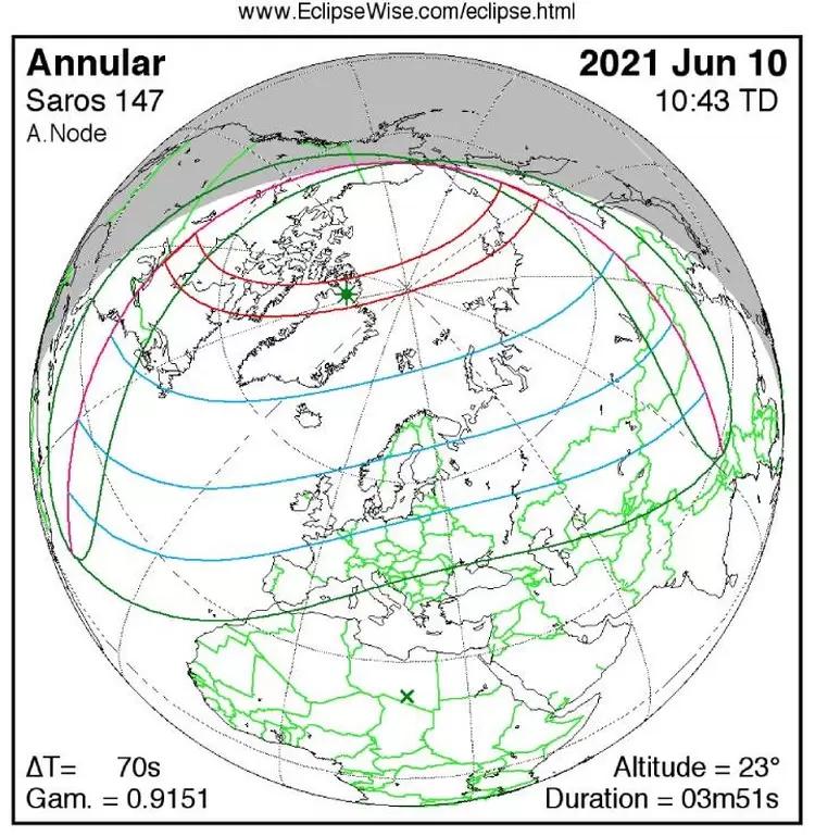 Движение тени и полутеней по поверхности Земли во время затмения 10 июня