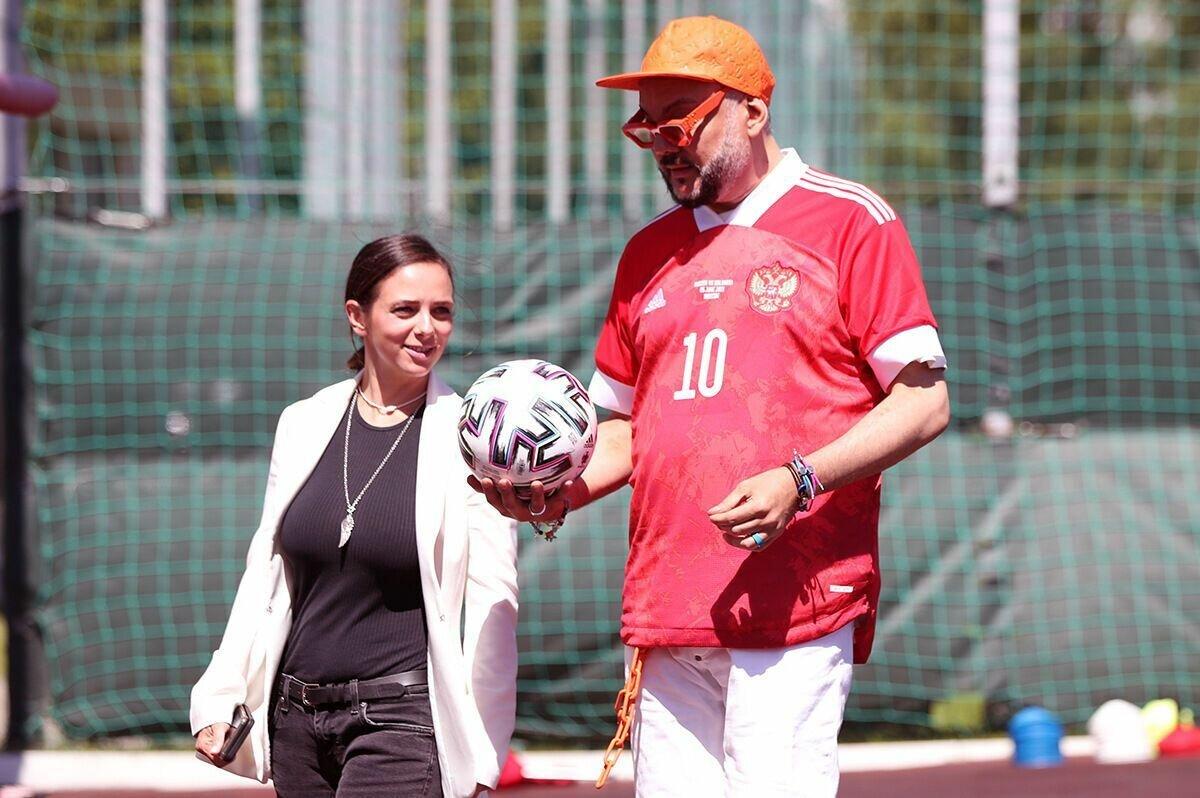 Филипп Киркоров посетил тренировку сборной России.