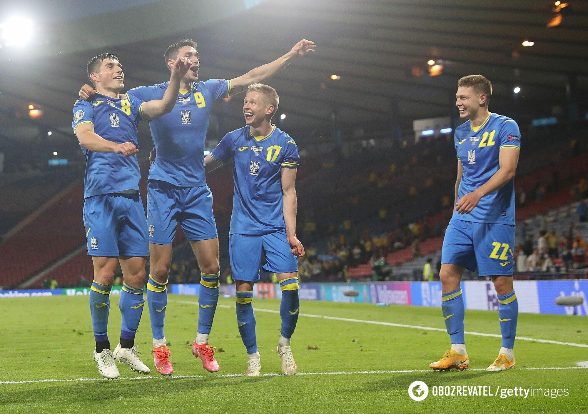 Украинцы после победы над Швецией.