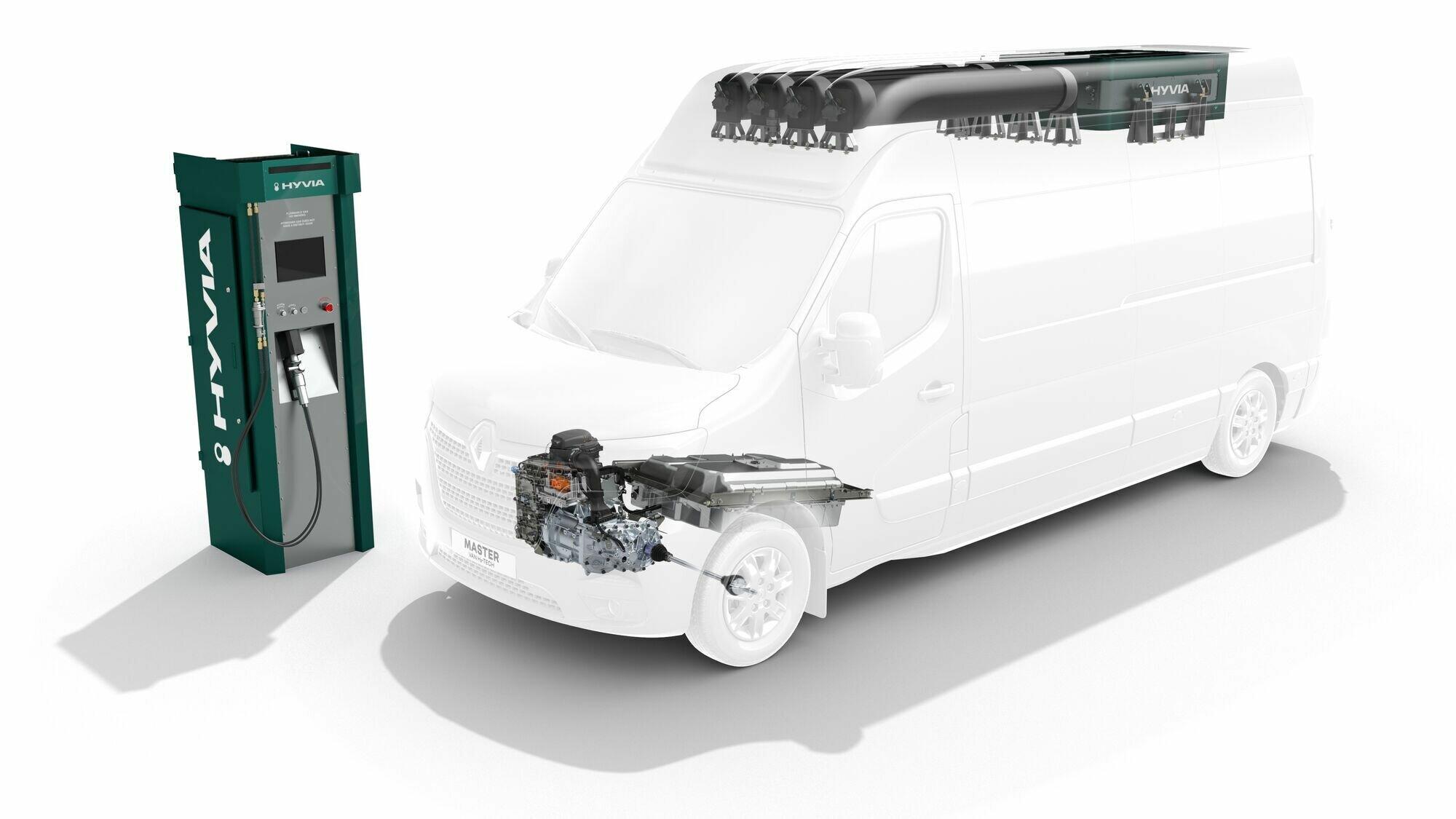 Расположение компонентов водородной установки в машинах с цельнометаллическим кузовом