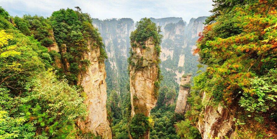 Живописный район Юаньцзяцзе в национальном лесном парке чжанцзяцзе