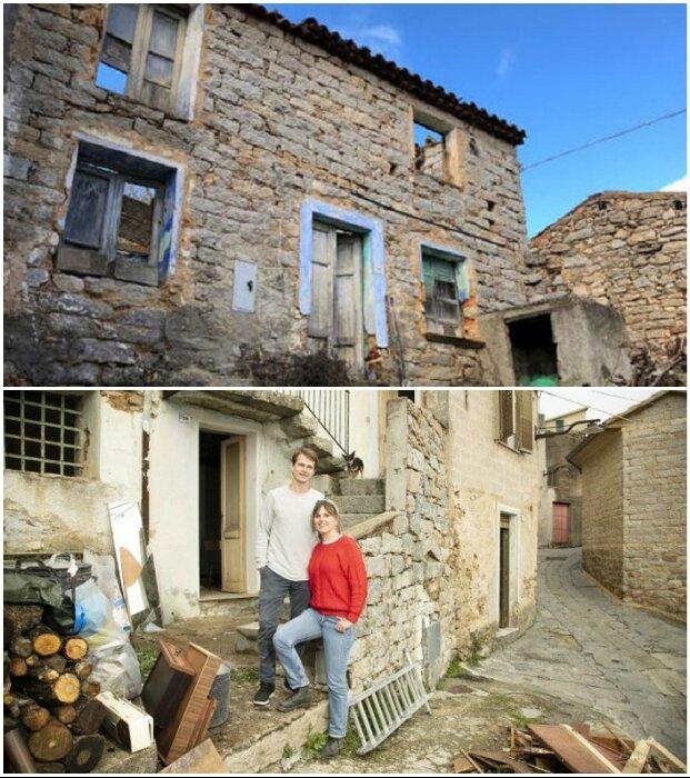 Полуразрушенные дома постепенно приобретают новых владельцев (Оллолаи, Сардиния).