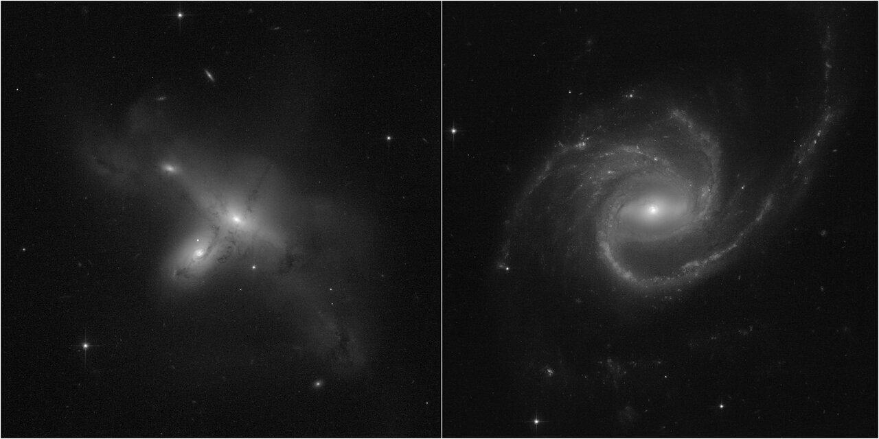 Hubble после ремонта показал новые черно-белые кадры галактик