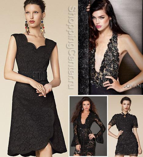 На фото кружевные черные платья из коллекций Dolce&Gabbana и Jovani