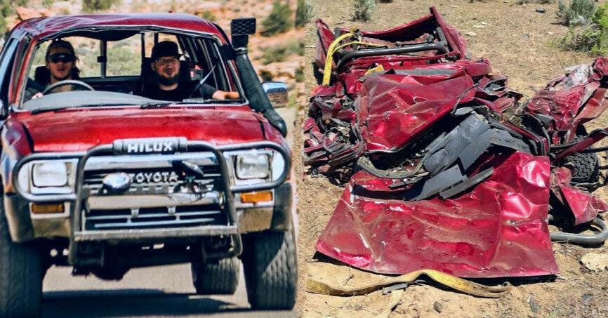 Toyota Hilux испытали на прочность, сбросив с высоты 3 км